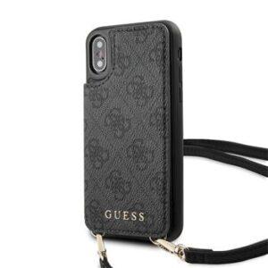 GUESS 4G Crossbody Cardslot Cover för iPhone X/XS - Grå