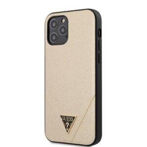 GUESS Saffiano V Stitch Cover för iPhone 12 Pro Max - Guld